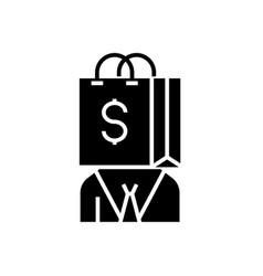 Consumerism icon black sign vector