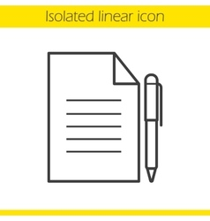 Contract with pen icon vector image
