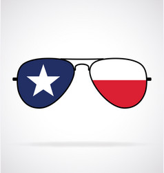 Cool aviator sunglasses with texas state flag vector