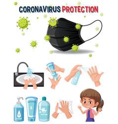 coronavirus protection logo with hands using vector image