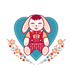 Cute rabbit greeting card vector