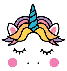 cute sleeping unicorn head colorful rainbow vector image