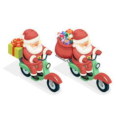 delivery bag gift box santa claus courier scooter vector image