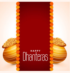 Dhanteras festival card with golden pot kalash vector