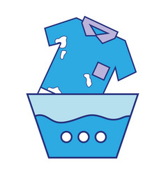 Dirty t-shirt soaking in pail with water vector