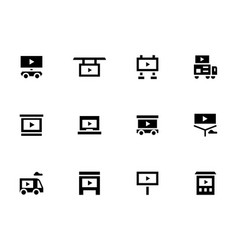 display advertising glyph style icons set vector image