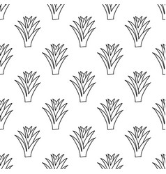 Doodle aloe vera plant floral seamless pattern vector