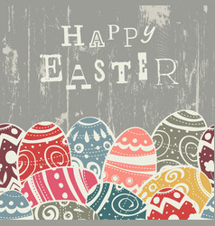 easter eggs on wooden board eggs border down vector image