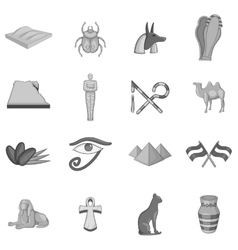 Egypt travel icons set monochrome style vector