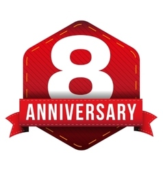 Eight year anniversary badge with red ribbon vector