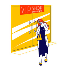 Female character leaving vip shop hiding face from vector
