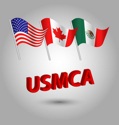 flag american canadian and mexican usmca vector image