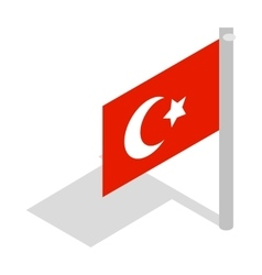 Flag of Turkey icon isometric 3d style vector image