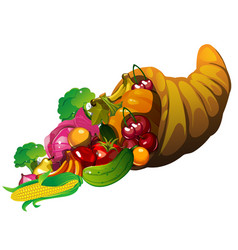 Fresh vegetables spilling from a cornucopia vector