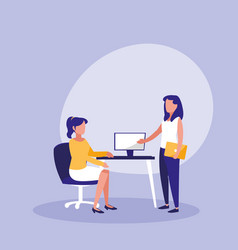 group of women with desktop in workplace vector image