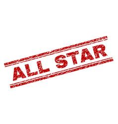 Grunge textured all star stamp seal vector