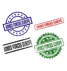 Grunge textured armed forces europe seal stamps vector
