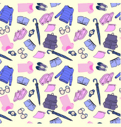 hand drawn fashion clothes and accessories pattern vector image