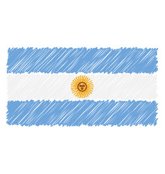 hand drawn national flag of argentina isolated on vector image
