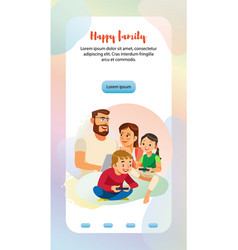 Happy family home leisure web banner template vector