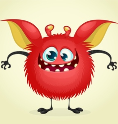 Happy Halloween cartoon red monster vector