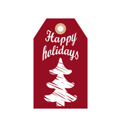 happy holidays promo hanging label sketch tree vector image