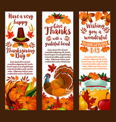 happy thanksgiving banner set of autumn holiday vector image