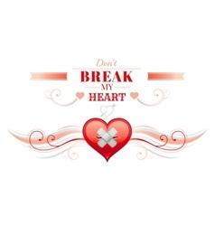 Happy Valentines day border broken heart patch vector image
