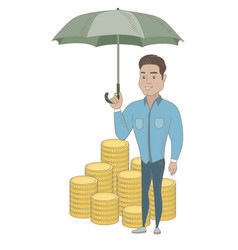 Hispanic business insurance agent with umbrella vector