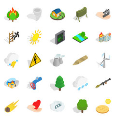 Ignitable icons set isometric style vector