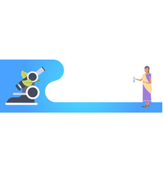 Indian woman scientist holding test tube chemistry vector