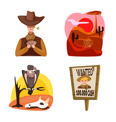 Isolated object wild and west sign collection vector