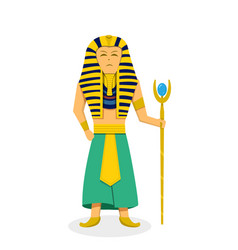 King pharaoh on white in flat style vector