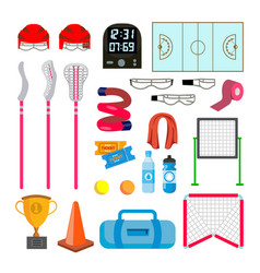 Lacrosse icons set lacrosse accessories vector