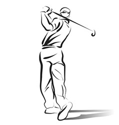 Line sketch of golfer vector