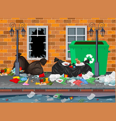 litter in the city background vector image