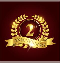 Luxury celebration template with golden laurel vector