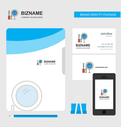 makeup business logo file cover visiting card and vector image