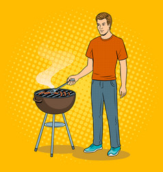 man and barbecue pop art vector image