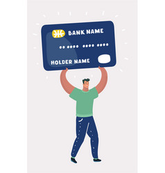 Man bearing credit card vector