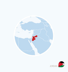 Map icon jordan blue map middle east with vector