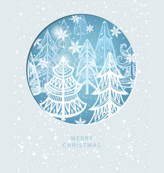 merry christmas greeting card with winter forest vector image