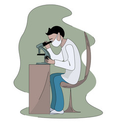 microbiologist working on white background vector image
