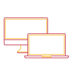 Monitor computer and laptop mockup gadget blank vector