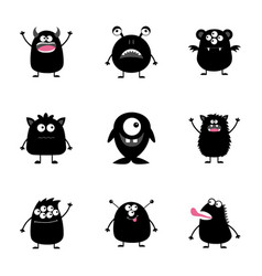 Monster big set black silhouette happy halloween vector
