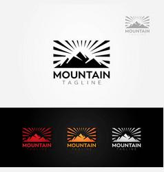 mountain sun rise logo vector image