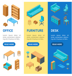 office furniture 3d banner vecrtical set isometric vector image