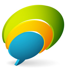 overlapping talk bubbles colorful icon for vector image