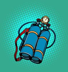 Oxygen tank for diver underwater swimming vector