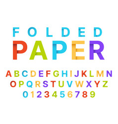 paper folding alphabet origami style color vector image